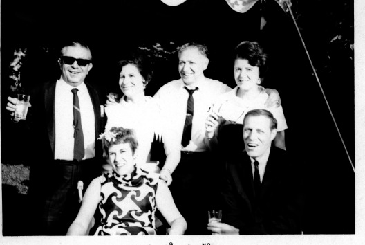 The core couples in Marian Rivman's life. Front row: Marcy and Murray Jameson; Back row: Ira and Evelyn Shear, Nat and Julia Rivman