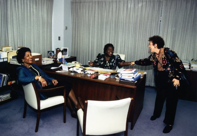 'Lady' Robertson and Gertrude Mongela, Secretary General of the UN's Fourth World Conference on Women, whose 50th birthday was the day after mine.